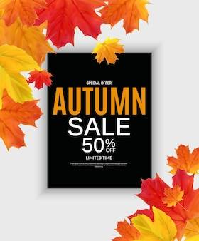 Shiny autumn leaves sale banner.