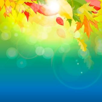 光沢のある秋の自然の葉の背景。ベクトルイラストeps10