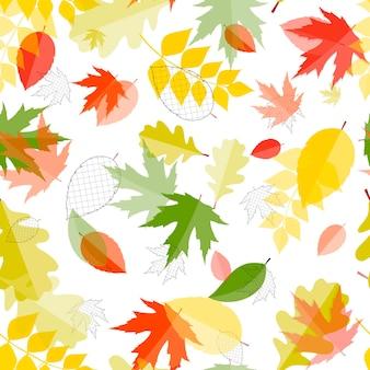 光沢のある秋の自然の葉のシームレスなパターンの背景。ベクター