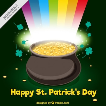 Shiny background with cauldron full of coins for st patrick's day