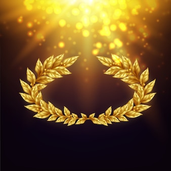 Shiny background with golden laurel wreath in in bright rays and glare realistic illustration