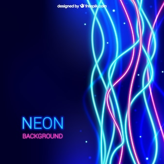 Shiny background with wavy neon lights