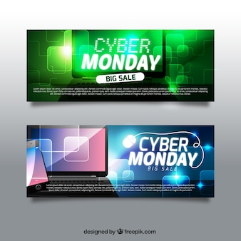 Shiny banners for cyber monday with devices