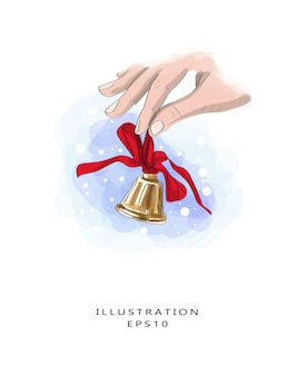 Shiny bell with a red ribbon