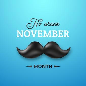 11月のひげそりなしの光沢のある黒い口ひげ。