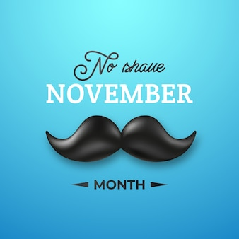 Shiny black mustache for no shave november month.
