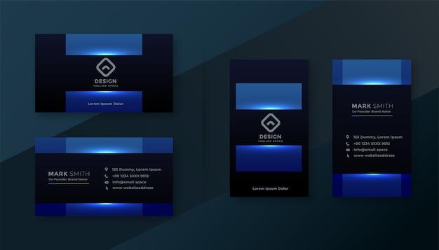 빛나는 파란색 매력적인 명함 서식 파일 디자인