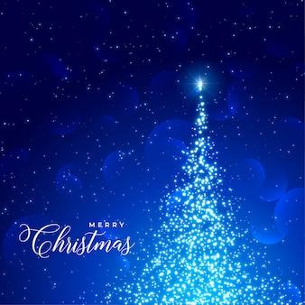 輝く木と輝く青い背景
