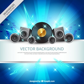 Shiny blue background with speakers