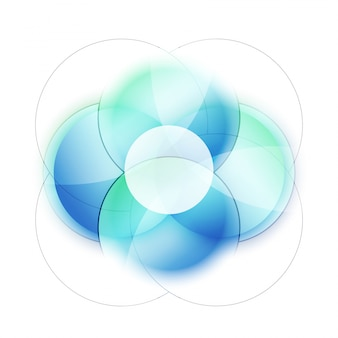 Shiny blue circles abstract background.