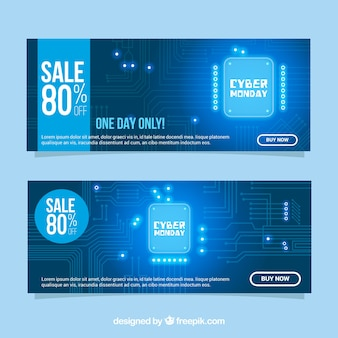 Shiny blue cyber monday banners
