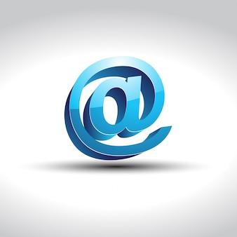 光沢のある青色の電子メールシンボルベクトル