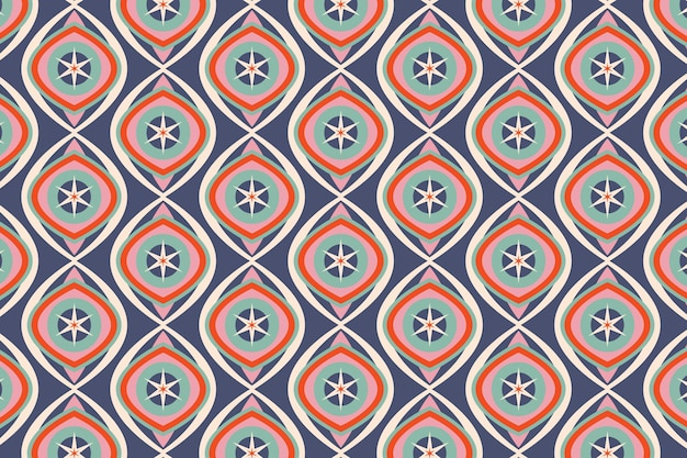Shiny blue geometric groovy seamless pattern