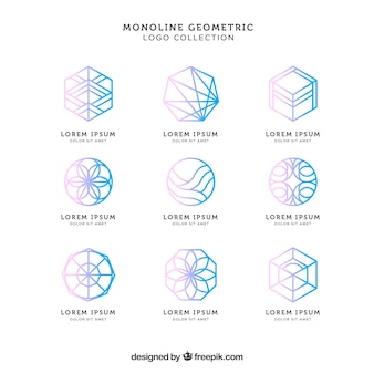 Shiny blue monoline logo pack