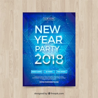 Shiny blue new year poster