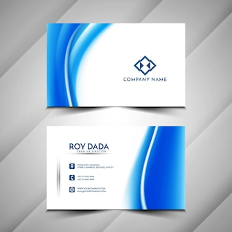 Shiny blue wave business card template