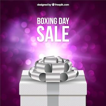 Shiny box with silver ribbon