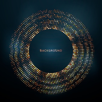 Shiny and bright golden dots in a circle on a dark background.