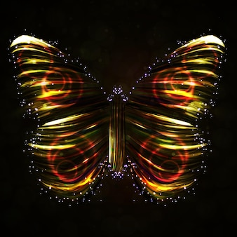 Shiny butterfly abstract vector, futuristic colorful strip