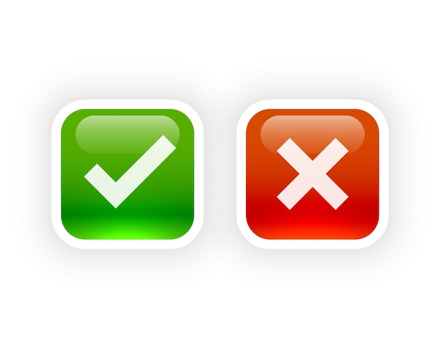 Shiny button style check mark and cross symbols
