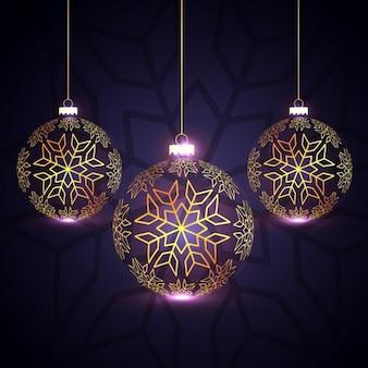 Shiny christmas balls on a purple background