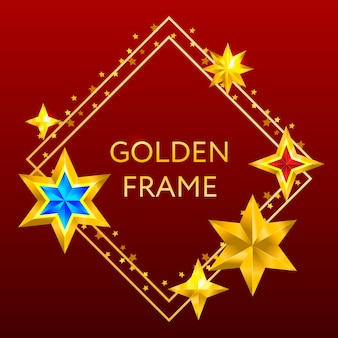 Shiny christmas  frame with golden stars.
