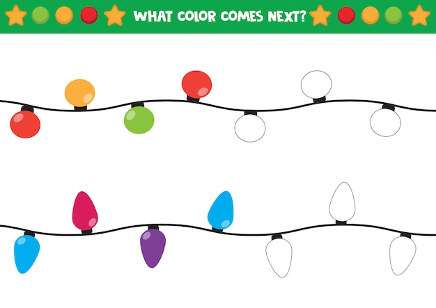 Shiny christmas light coloring worksheet