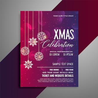 Shiny christmas party celebration flyer template