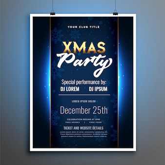 Shiny christmas party flyer poster template design