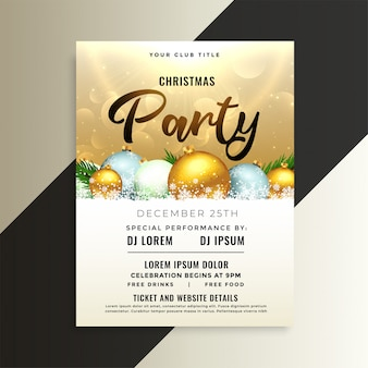 Shiny christmas party flyer template with 3d balls