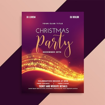 Shiny christmas party flyer with light streak