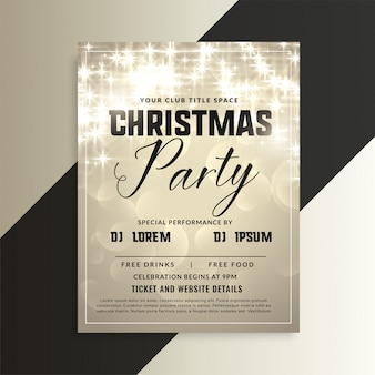 Shiny christmas party invitation flyer with sparkles