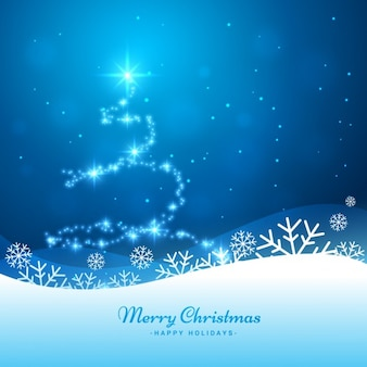 Shiny christmas tree background in blue color