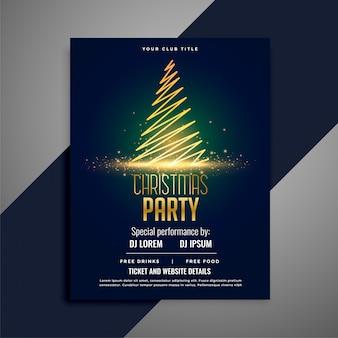 Shiny christmas tree celebration flyer design