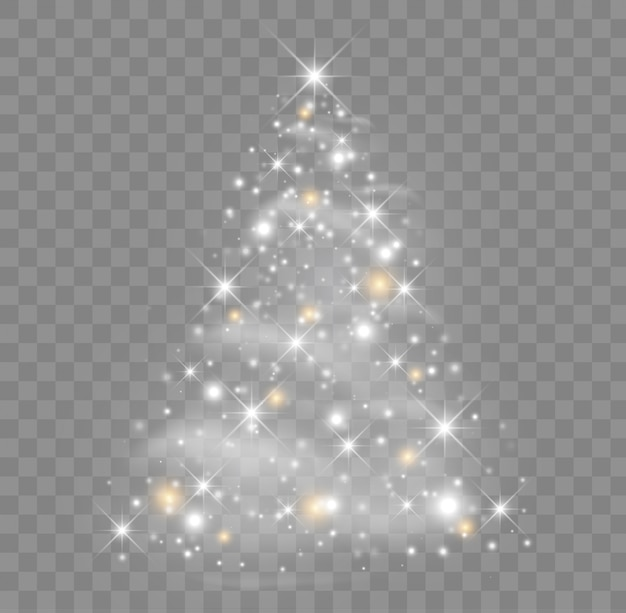 Shiny christmas tree  illustration with glowing particles and stars