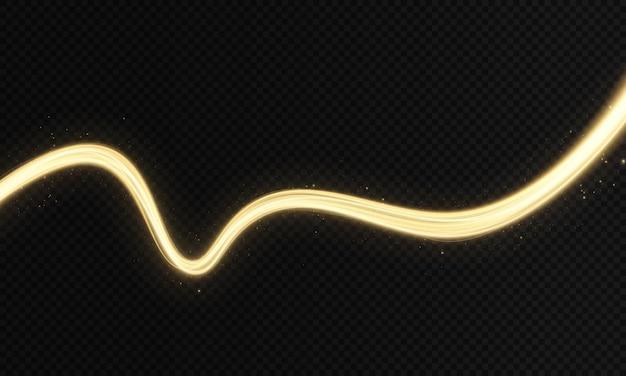 光沢のある色のゴールドウェーブデザイン要素ブラックの背景にゴールドのキラキラ効果を持つゴールデンウェーブ