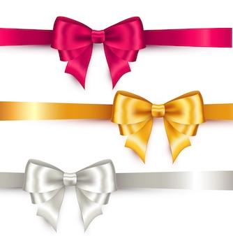 Shiny color satin ribbon on white background