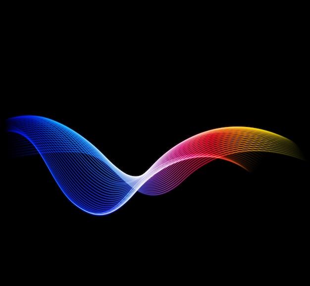 Shiny color waves over dark backgrounds
