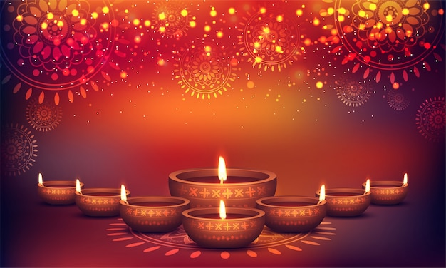 Shiny colorful floral background for diwali celebration.