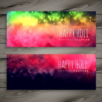 Shiny colorful holi banners