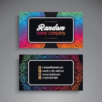Shiny colorful mandala style business card