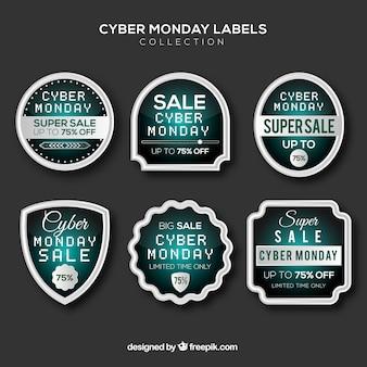 Shiny cyber monday labels