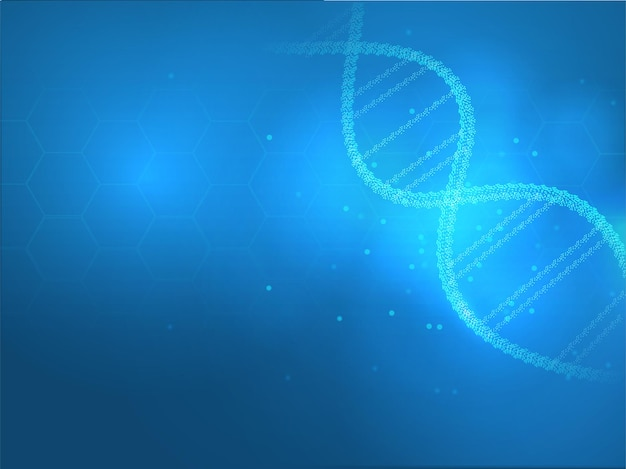 Shiny dna structure made from tiny particles on blue hexagon pattern for health and medical concept.