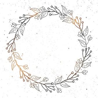 灰色の背景に円形のフレームに飾られた光沢のある落書きの花。