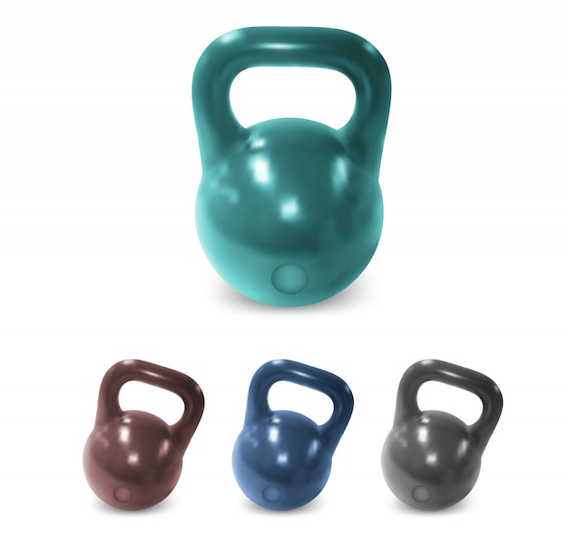 Shiny dumbbell weights set
