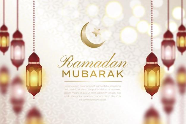 빛나는 우아한 금색과 빨간색 이슬람 라마단 무바라크 배경