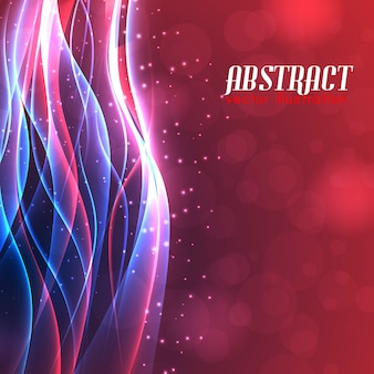 Shiny energy abstract background with curved illuminated lines light glowing blur effects