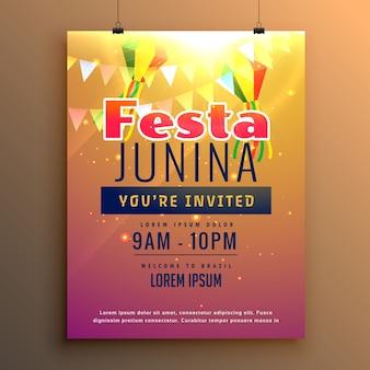 Shiny festa junina poster template