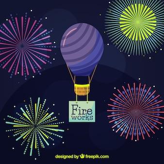 Shiny fireworks background