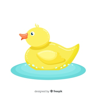 Shiny flat design yellow rubber duck